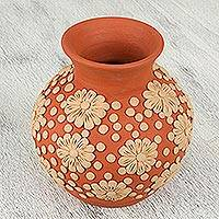 Ceramic vase, 'Joy of the Earth' - Handcrafted Ceramic Vase with Floral Design from Mexico