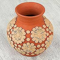 Ceramic vase, 'Smell the Flowers' - Handcrafted Ceramic Vase with Floral Design from Mexico