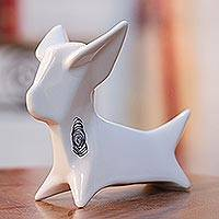 Ceramic sculpture, 'Origami Chihuahua' - Handcrafted Ceramic Chihuahua Origami Sculpture from Mexico