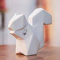 Ceramic sculpture, 'Origami Squirrel' - Handcrafted Ceramic Squirrel Origami Sculpture from Mexico
