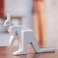 Ceramic sculpture, 'Origami Kangaroo' - Handcrafted Ceramic Kangaroo Origami Sculpture from Mexico