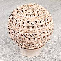 Ceramic candle holder, 'Geometry With Tradition' - Ceramic Candle Holder with Geometric Motifs from Mexico