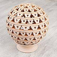 Ceramic candle holder, 'Continuity of Tradition' - Geometric Ceramic Candle Holder Handcrafted in Mexico