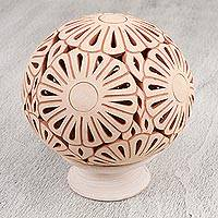Ceramic candleholder, 'Plentiful Flowers' - Handcrafted Ceramic Floral Candle Holder from Mexico