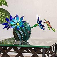 Wood alebrije sculpture, 'Nature and Happiness' - Hand-Painted Wood Alebrije Cactus Sculpture from Mexico