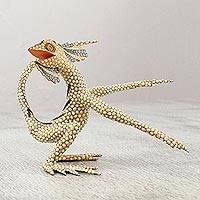 Wood alebrije sculpture, 'Energetic Lizard' - Handcrafted Beige Alebrije Lizard Sculpture from Mexico