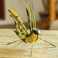 Wood alebrije sculpture, 'Yellow Good Luck Cricket' - Wood Alebrije Cricket Sculpture in Yellow from Mexico