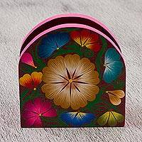 Wood napkin holder, 'Colorful Tradition' - Handcrafted Copal Wood Floral Napkin Holder from Mexico