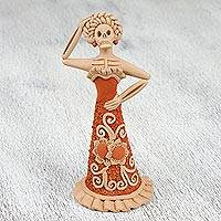 Ceramic figurine, 'Catrina Coquette' - Handcrafted Ceramic Floral Catrina Figurine from Mexico