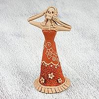Ceramic figurine, 'Awestruck Catrina' - Handcrafted Ceramic Catrina Skeleton Figurine from Mexico