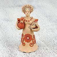 Ceramic figurine, 'Nature and Fertility' - Ceramic Figurine of a Woman with a Chicken from Mexico