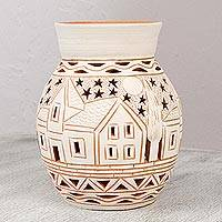 Decorative ceramic vase, 'Oaxaca Stars' - Artisan Crafted Decorative Ceramic Vase from Mexico