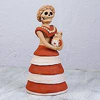 Ceramic sculpture, 'Pretty Garbancera' - Handcrafted Ceramic Skeleton Woman Sculpture from Mexico