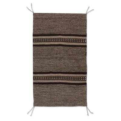 Wool area rug, 'Land of my People' (2x3) - Brown and Beige Hand Loomed Wool Area Rug (2x3)