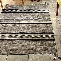 Wool area rug, 'Valley Stripes' (4x6) - Mixed Grey Shades Area Rug Loomed of Wool in Oaxaca (4x6)