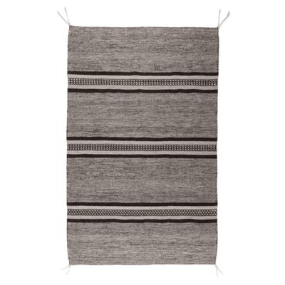 Wool area rug, 'Valley Stripes' (4x6) - Mixed Grey Shades Area Rug Loomed of Wool in Oaxaca (4x6)