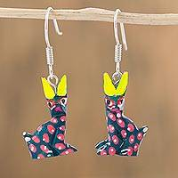 Wood alebrije dangle earrings, 'Baby Rabbits' - Copal Wood Alebrije Rabbit Dangle Earrings from Mexico