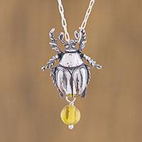 Amber pendant necklace, 'Countryside Scarab' - Natural Amber Beetle Pendant Necklace from Mexico