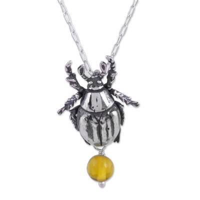 Natural Amber Beetle Pendant Necklace from Mexico