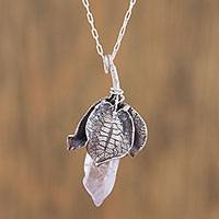 Amethyst pendant necklace, 'Floral Crystal' - Amethyst and 925 Silver Floral Pendant Necklace from Mexico