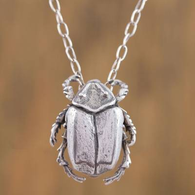 Sterling silver scarab beetle pendant necklace from mexico lucky sterling silver pendant necklace lucky scarab sterling silver scarab beetle pendant necklace aloadofball Gallery