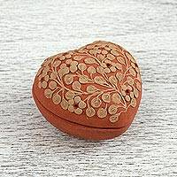 Ceramic decorative box, 'Flowers of Home' (3 inch) - Ceramic Heart-Shaped Floral Decorative Box from Mexico