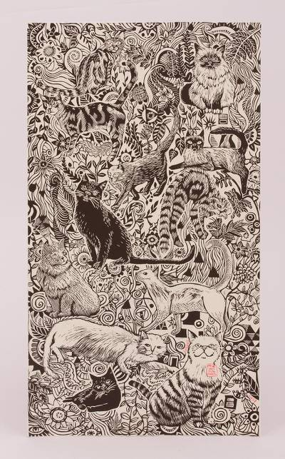 Cat Lovers Black and White Signed and Numbered Etching