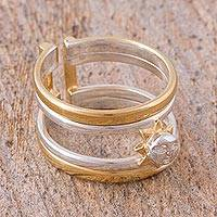 Gold plated sterling silver wrap ring, 'Sun in Your Hands' - Hand Crafted Silver and Gold Band Ring with Sun Accent