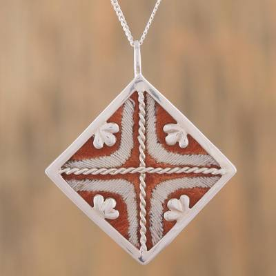 Leather accent sterling silver pendant necklace, Symmetric Beauty