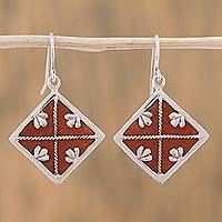 Leather accent sterling silver dangle earrings, 'Symmetrical Beauty' - Leather Accent Sterling Silver Dangle Earrings from Mexico