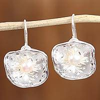 Cultured pearl dangle earrings, 'Fine Flowers' - Cultured Pearl and Silver Floral Dangle Earrings from Mexico