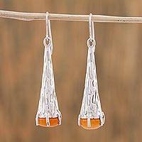 Agate dangle earrings, 'Orange Snow Cones' - Orange Agate and 925 Silver Dangle Earrings from Mexico