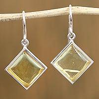 Amber dangle earrings, 'Golden Rhombi' - Amber and Sterling Silver Dangle Earrings from Mexico