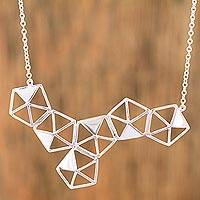 Sterling silver pendant necklace, 'Geometric Shimmer' - Sterling Silver Geometric Pendant Necklace from Mexico