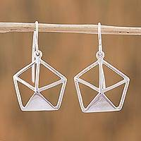Sterling silver dangle earrings, 'Geometric Shimmer' - Sterling Silver Geometric Dangle Earrings from Mexico