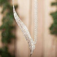 Sterling silver pendant necklace, 'Everlasting Nature' - Sterling Silver Leaf Pendant Necklace from Mexico