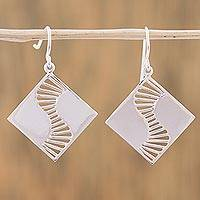 Sterling silver dangle earrings, 'Modern Helix' - Sterling Silver Modern Dangle Earrings from Mexico