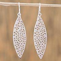Sterling silver dangle earrings, 'Dotted Forms' - Sterling Silver Dot Motif Dangle Earrings from Mexico