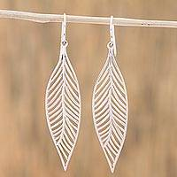 Sterling silver dangle earrings, 'Leafy Veins' - Sterling Silver Leaf Dangle Earrings from Mexico