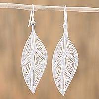 Sterling silver dangle earrings, 'Leafy Spirals' - Sterling Silver Spiral Motif Leaf Earrings from Mexico