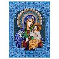 Beaded embroidery panel, 'Virgin Mary and Little Jesus' - Hand Embroidered Beaded Panel of Mary and Jesus