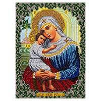 Beaded embroidery panel, 'Byzantine Madonna' - Christian Art Beaded Panel with Hand Embroidery