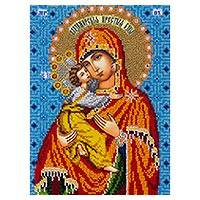 Beaded embroidery panel, 'Embracing the Virgin' - Byzantine Christian Art Beaded Panel with Hand Embroidery