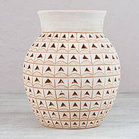 Ceramic decorative vase, 'Endless Triangles' - Alabaster Clay Pot with Triangle Design from Mexico