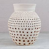 Ceramic decorative vase, 'Alabaster Memories' - Alabaster Colored Ceramic Decorative Vase from Mexico