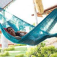 Nylon rope hammock, 'Teal Haven' (single) - Hand Woven Teal Hammock from Mexico (Single)