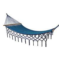 Nylon rope hammock, 'Sea and Sky' (single) - Single Blue and Turquoise Hand Woven Hammock from Mexico
