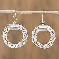 Sterling silver dangle earrings, 'Open Space' - Sterling Silver Openwork Dangle Earrings from Mexico