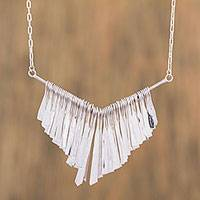 Sterling silver pendant necklace, 'Rainy Winds' - Taxco Sterling Silver Pendant Necklace from Mexico