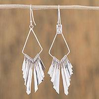 Sterling silver dangle earrings, 'Diamond Winds' - Elegant Sterling Silver Diamond Dangle Earrings with Fringe